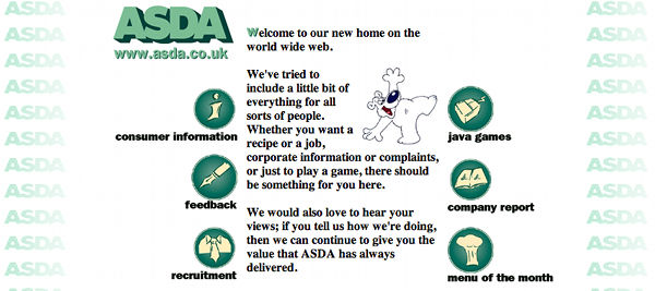 ASDA's website in 1996 offered everything from jobs and recipes to java games to entertain their customers. The one thing it didn't offer, though, was the ability to buy things.